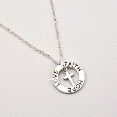 Necklace with Faith Hope Love Ring and Cross | Someone Remembered